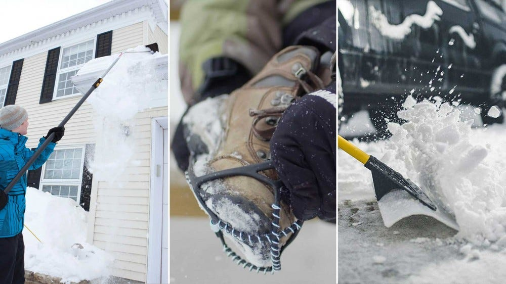 From left to right: a snow shovel on the roof, slip-on grip cleats for your boots and a wide shovel for pushing snow.