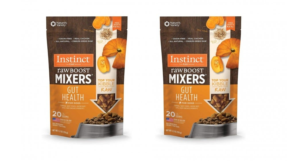 two bags of dog food mixers