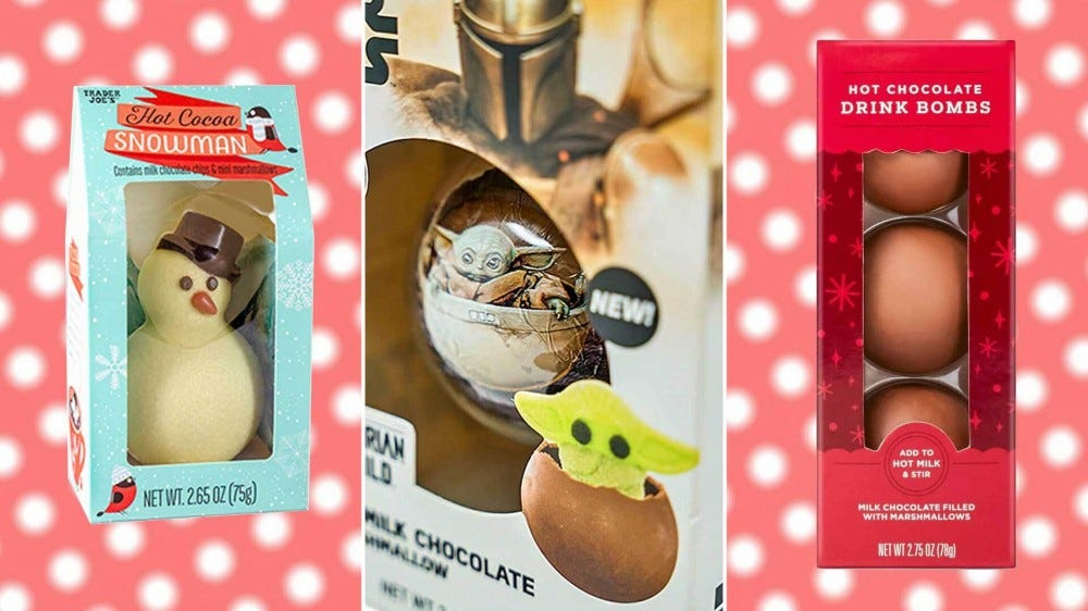 A trifold image featuring a chocolate snowman, a chocolate Baby Yoda, and a three-pack of chocolate spheres