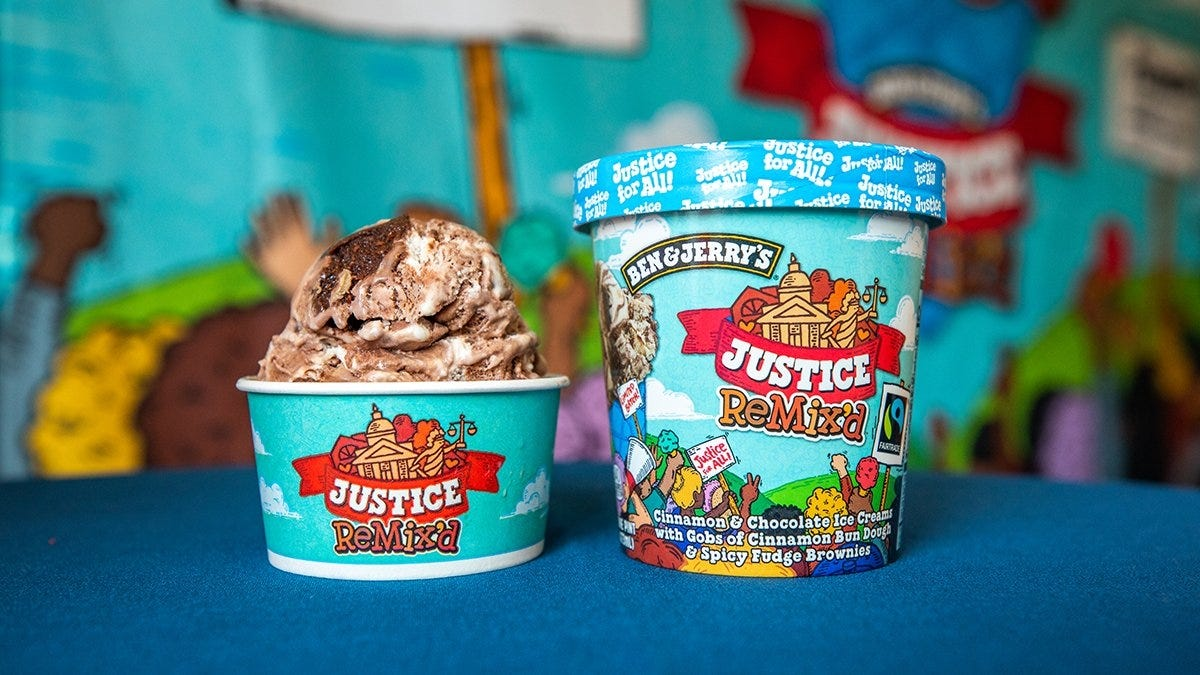 Ben and Jerry's new Justice Remix'd flavor.