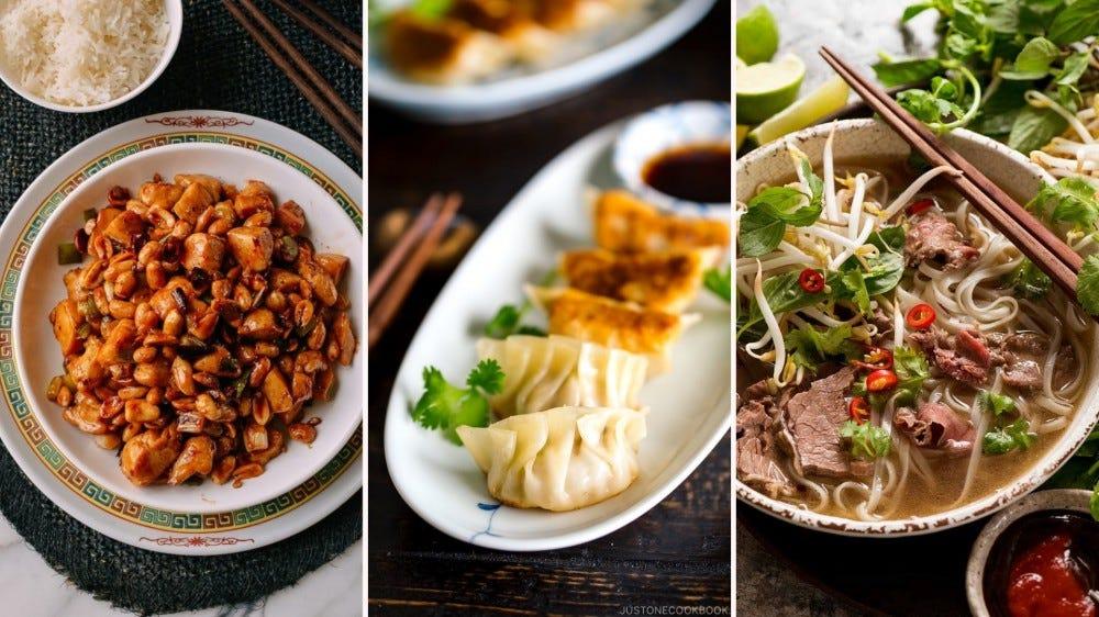 three Asian dishes