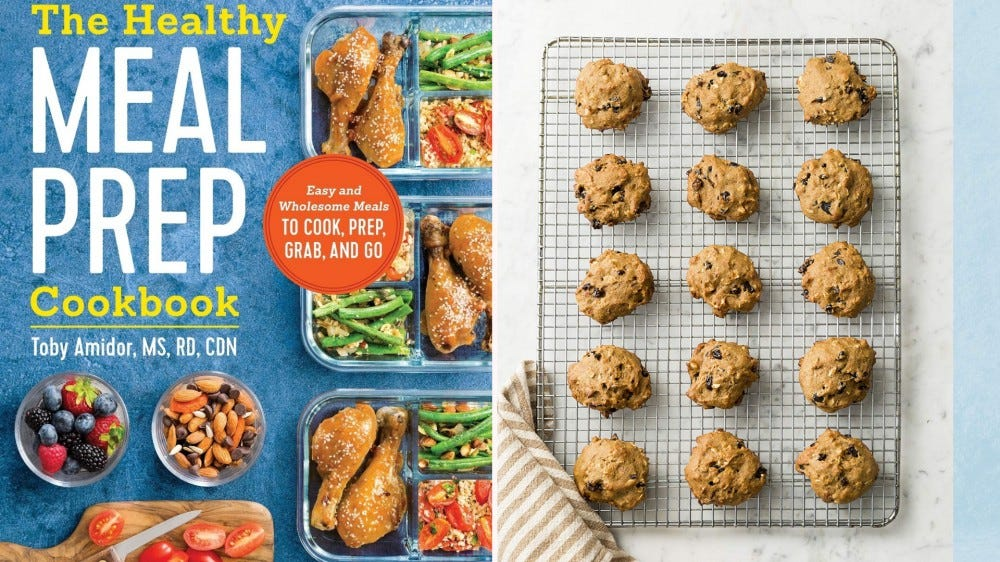 """""""The Healthy Meal Prep Cookbook"""" and a batch of cookies about to go in the oven."""