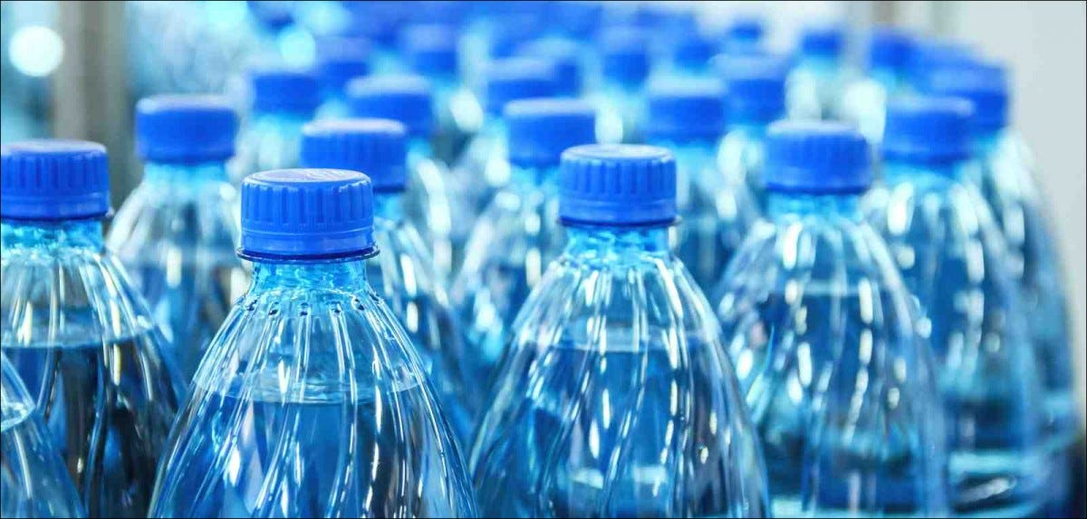 water bottles on manufacturing line