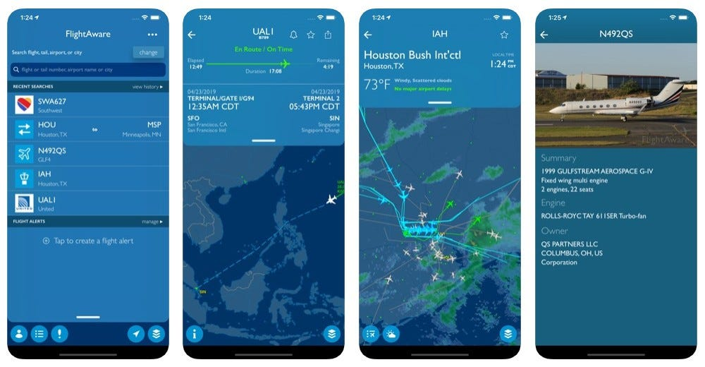 Screenshots from the FlightAware app showing flight times, local weather, maps, and more.