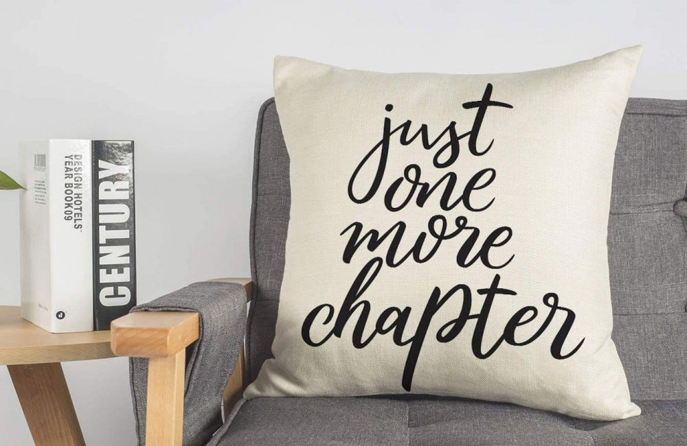 """A large throw pillow with the text """"Just one more chapter"""" on it."""