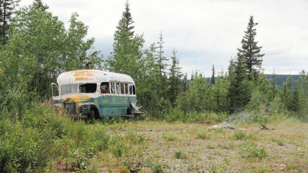 """The Magic Bus"" from the book and film ""Into the Wild."""