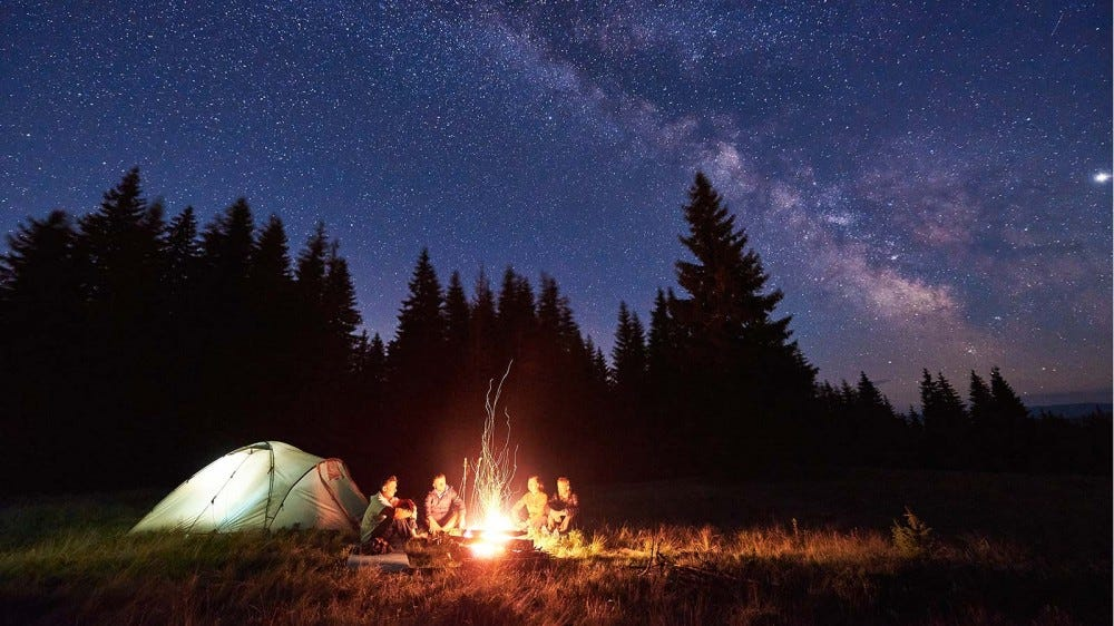 A group sitting around a campfire in the woods, under a starry sky.