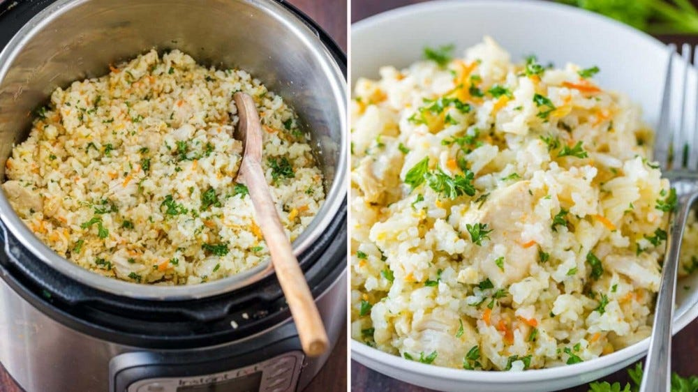 Two side by side images of instant pot chicken and rice made by Natasha's Kitchen.