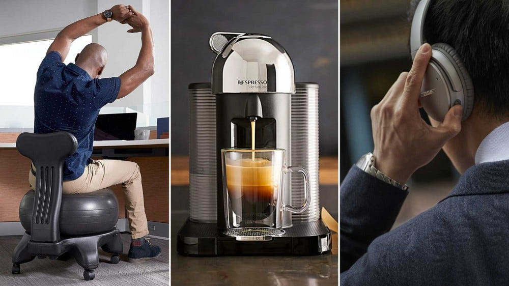 Examples of great gifts for people working from home like an ergonomic chair, an espresso machine, and noise-cancelling headphones.