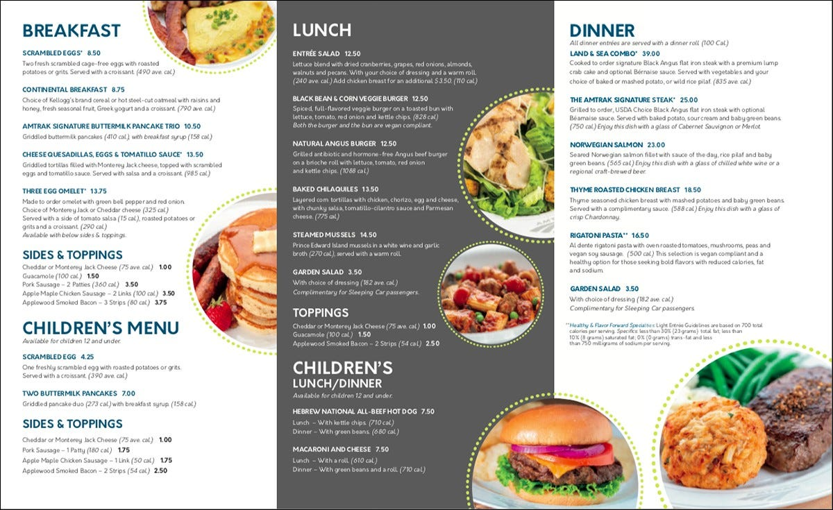 Amtrak's restaurant car menu.