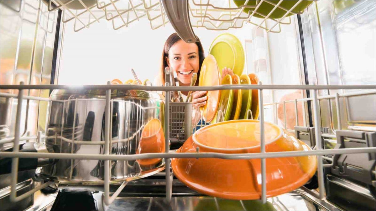 Woman Cleaning Dishwasher