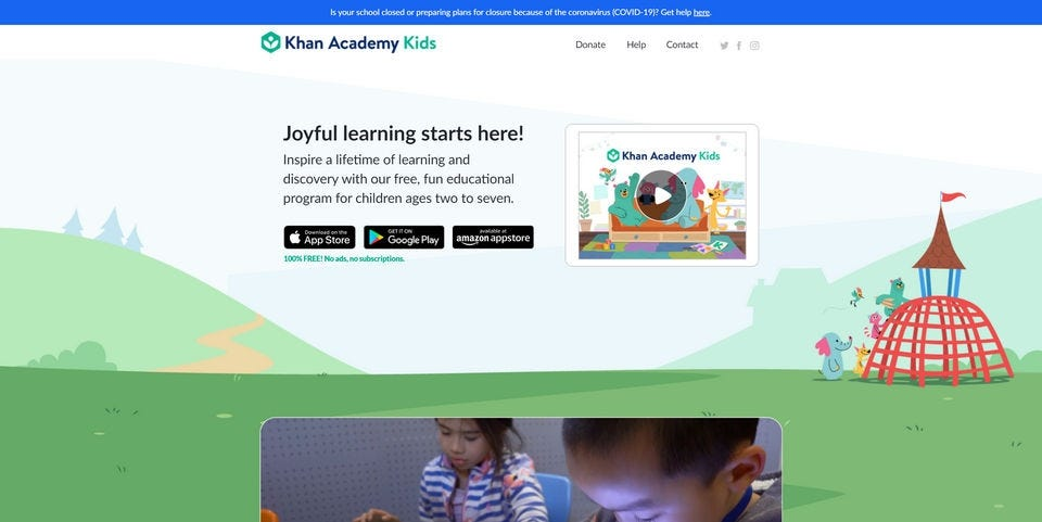 The Khan Academy for Kids website.