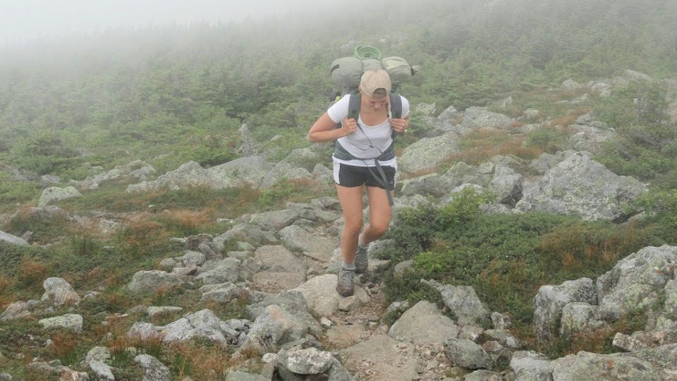 Me hiking up Mount Bigelow, using hiking boots that fit well.