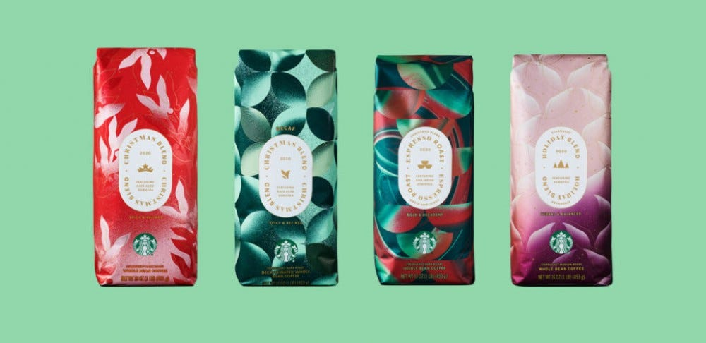 Four packs of Starbucks holiday coffee.