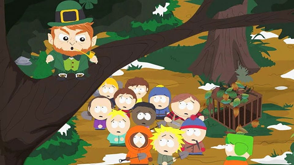 The children of South Park trying to catch a leprechaun who's in a tree smoking a pipe.
