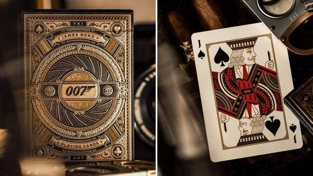 James Bond playing cards box and card example.
