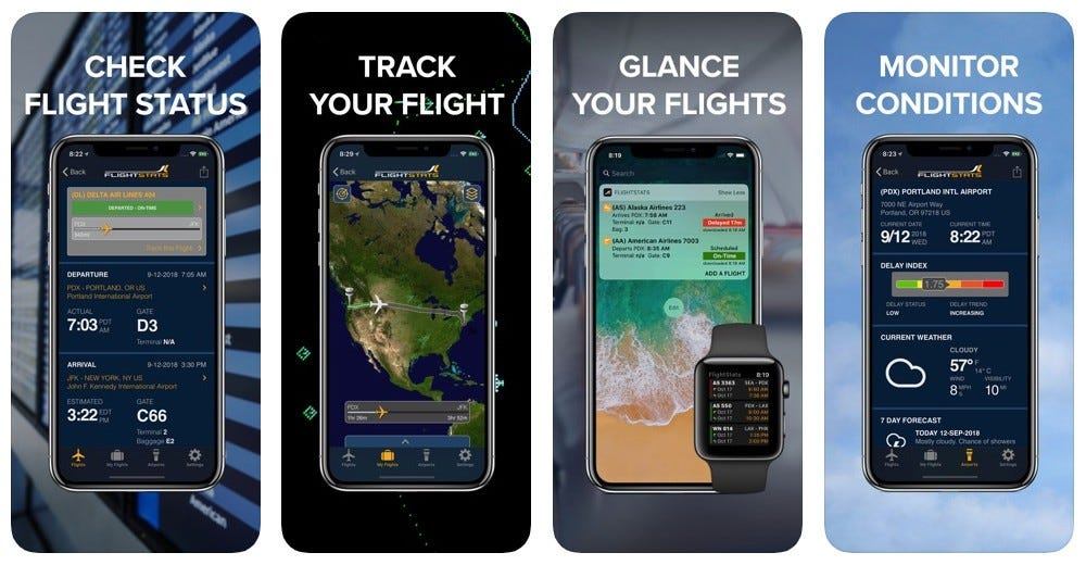Screenshots from the FlightStats app showing flight status, maps, at-a-glance information and weather updates.