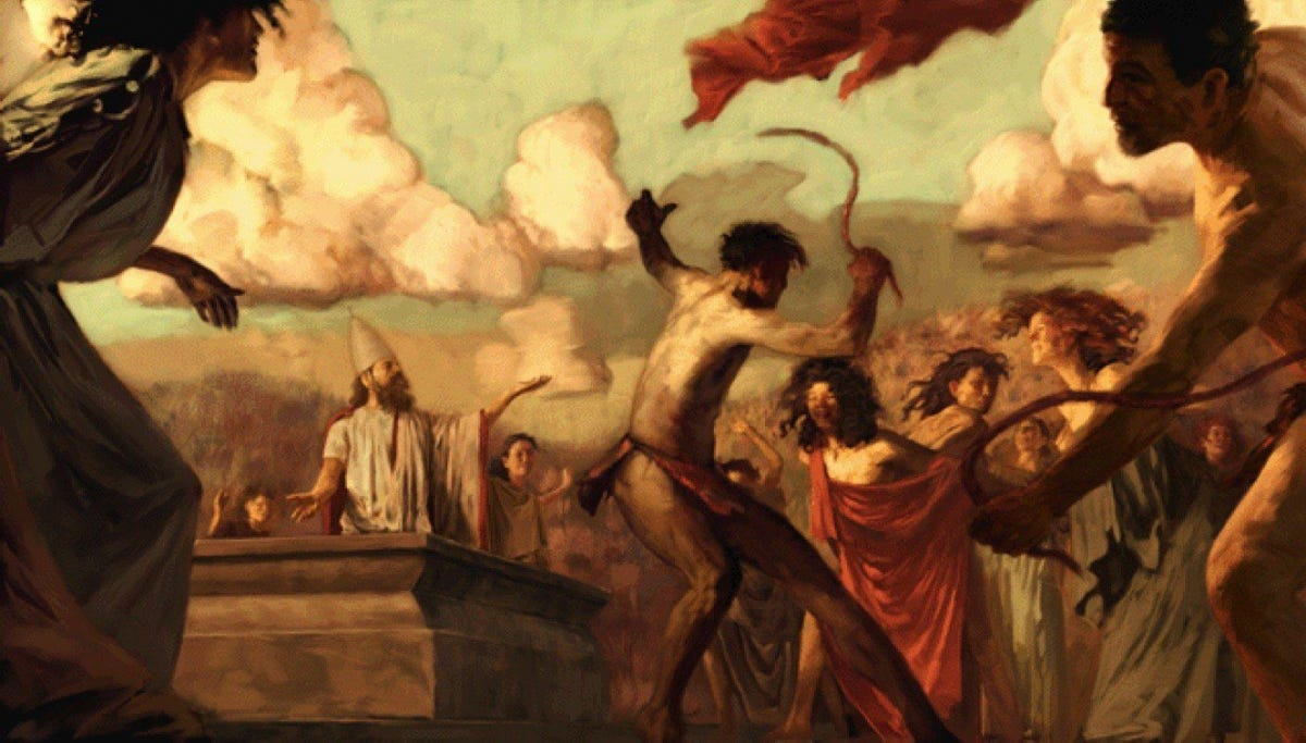 A painting depicting the Lupercalia festival in Ancient Rome.