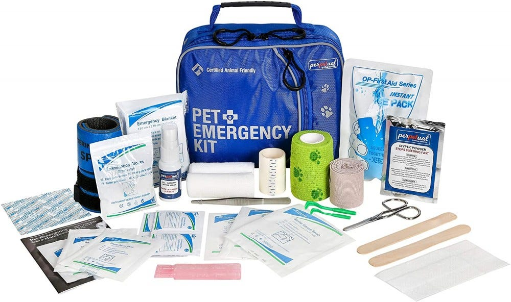 The bag and contents of the Pet First Aid Kit.