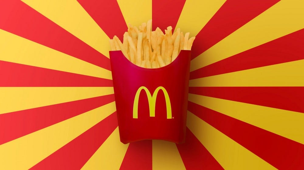 A box of McDonald's french fries.