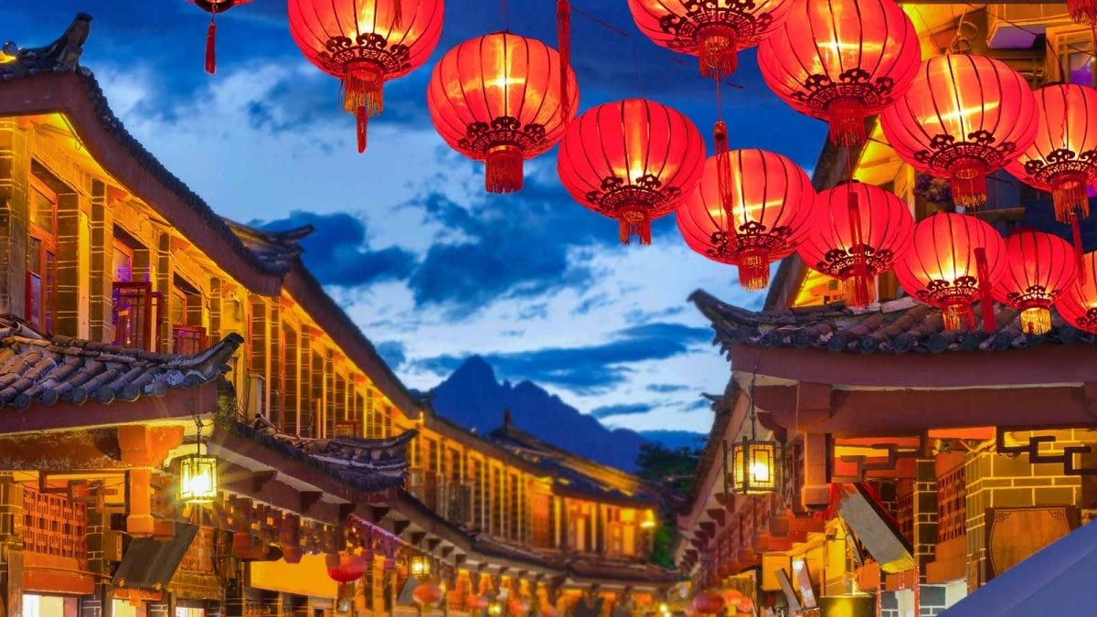 The historic district of Lijiang in Yunnan China, decorated for the new year.