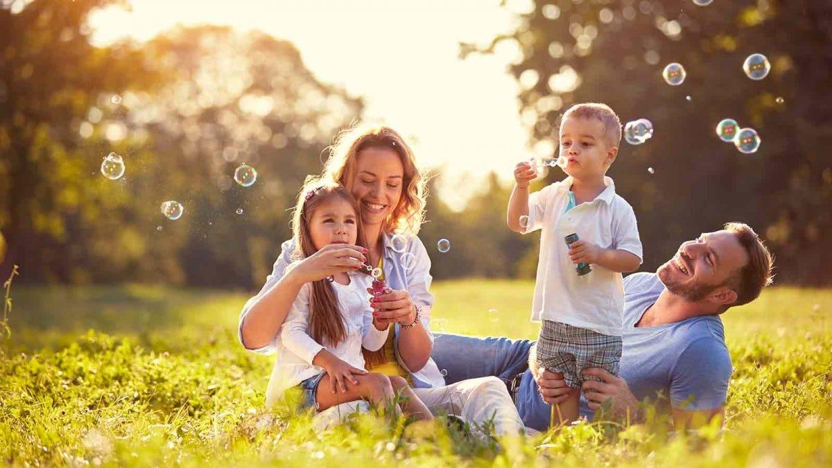 family blowing bubbles in a sunlit field