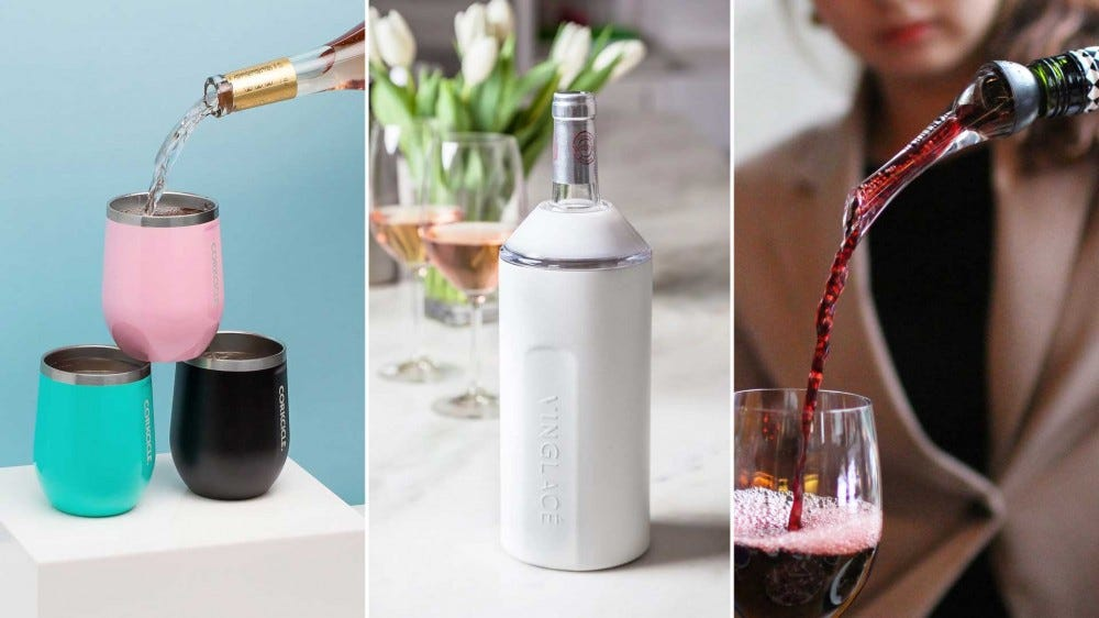 Three wine accessories, from left to right: an insulated glass, a wine chiller, and a bottle-top aerator.