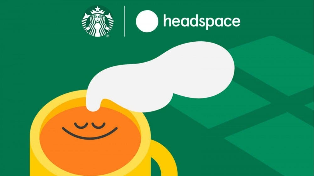 A splash image featuring the Starbucks logo, the Headspace logo and a smiling coffee mug.