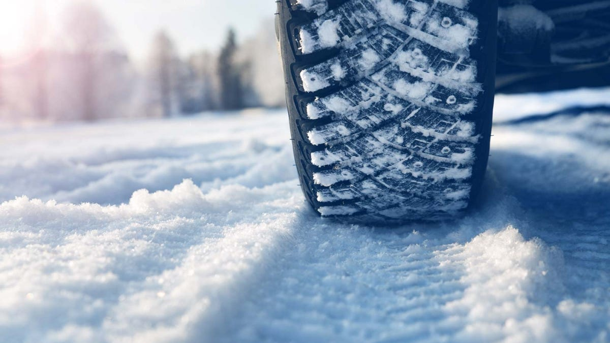 closeup of a car tire in winter