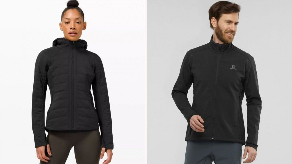 A woman wearing the lululemon Another Mile jacket and a man wearing the Salomon Agile jacket.