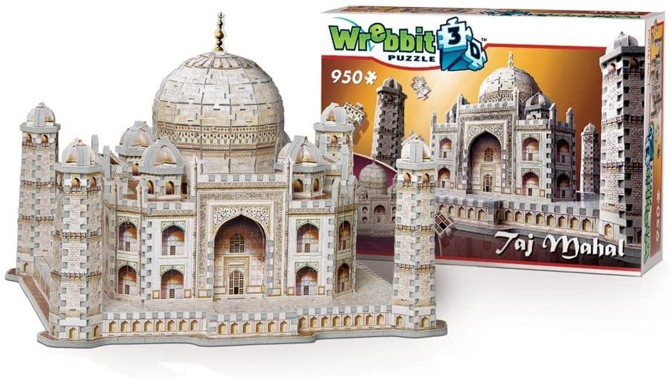 The completed Taj Mahal 3D Puzzle sitting next to its box.