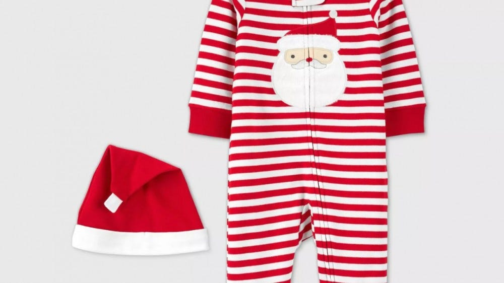 Just One You Baby Christmas Striped Santa Sleep n' Play