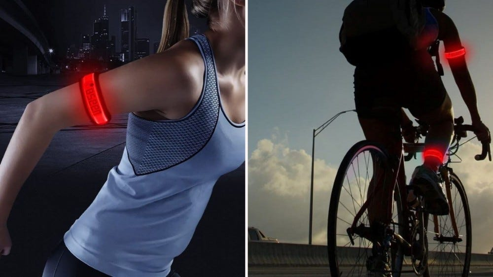 A runner and biker wearing red glowing BSEEN armbands.