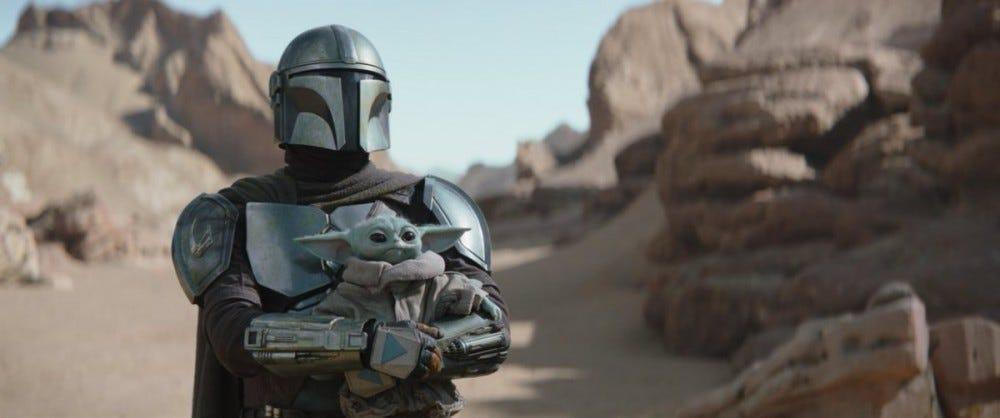 A still from 'The Mandalorian' featuring baby Yoda.