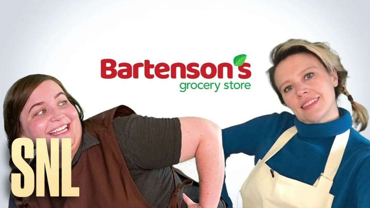 "A screenshot of an SNL parody ad featuring ""Bartenson's Grocery Store""."