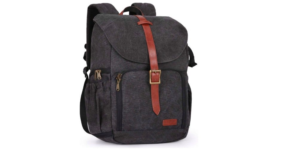 Camera Bag Made of Dark Brown Water Resistant Canvas