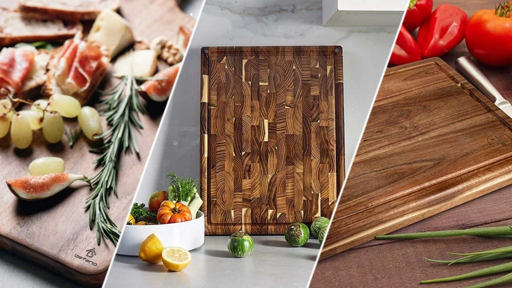 A variety of pretty wood cutting boards.