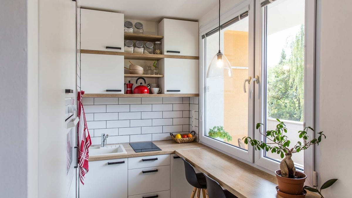 A small, apartment kitchen.