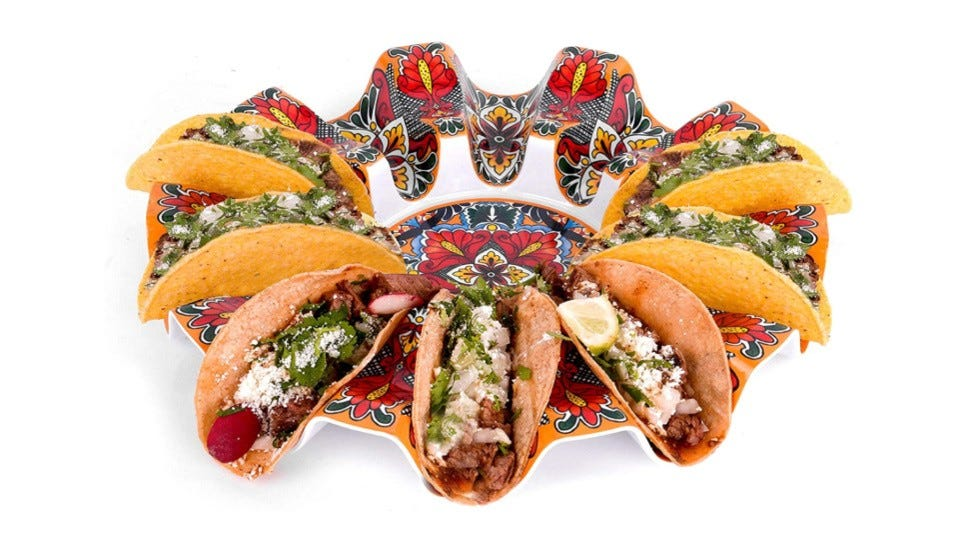 The 10-Taco Carousel with seven hard-shell tacos on it.