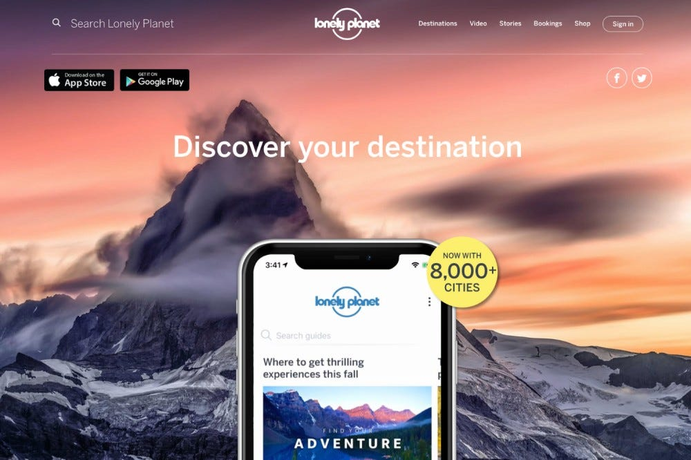 The splashpage for the app Lonely Planet.