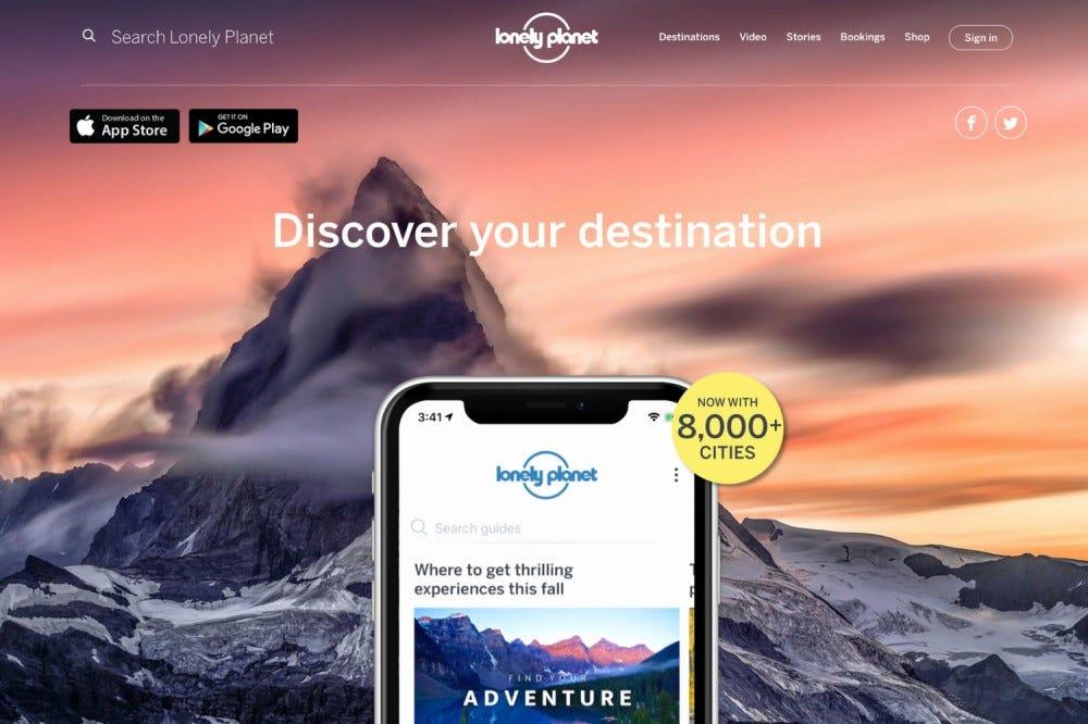 A Lonely Planet alkalmazás splashpage-je.