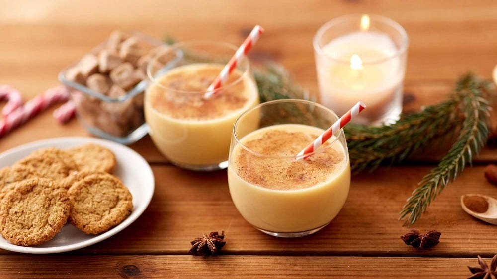 Eggnog-flavored cookies paired with actual eggnog.