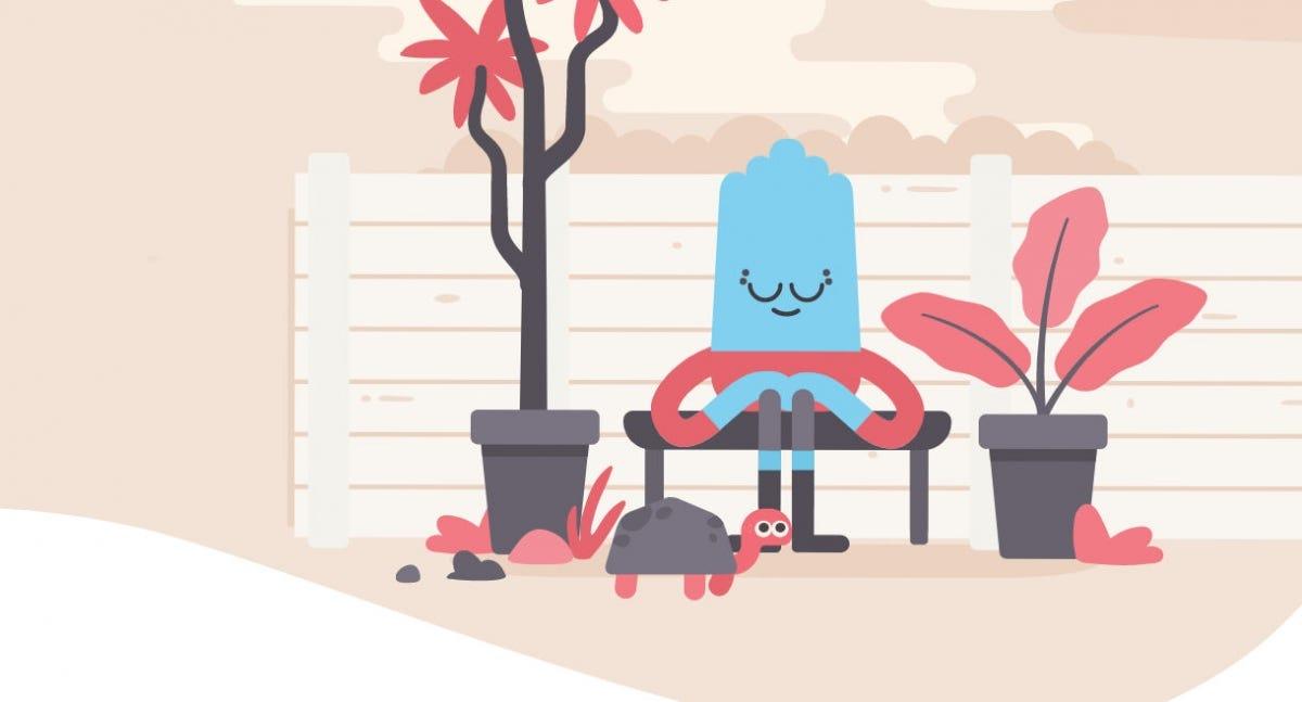 Stylized artwork depicting somebody mediating outdoors.