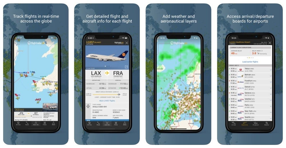 Screenshots from the Flightradar24 app showing information about flights, planes, weather, and boarding times.