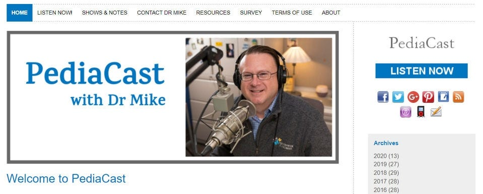"The ""PediaCast"" website, featuring a photo of host, Dr. Mike."