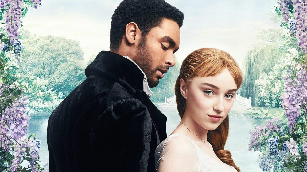 """Regé-Jean Page and Phoebe Dynevor in an ad for """"Bridgerton."""""""
