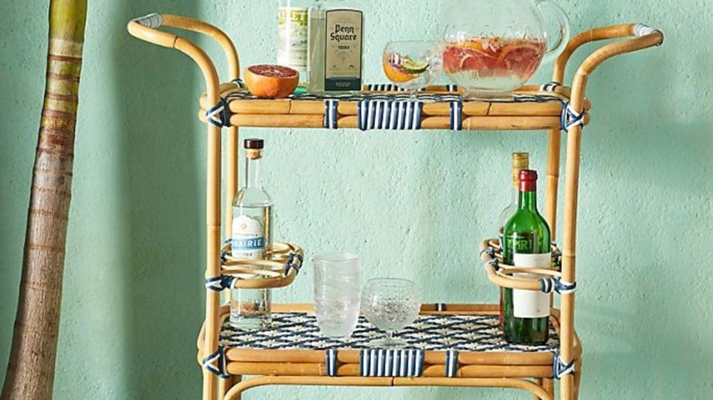 Anthropologie Woven Bistro Indoor/Outdoor Bar Cart