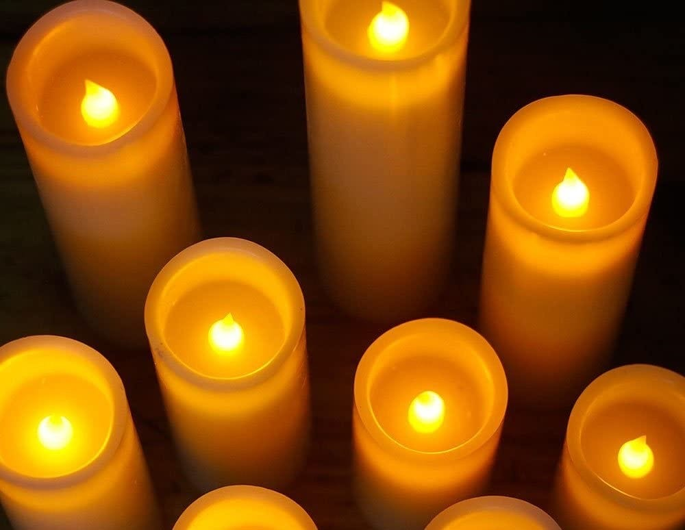 Close up of flameless candles glowing.
