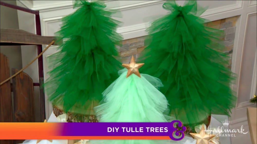 You can DIY tulle Christmas trees yourself.
