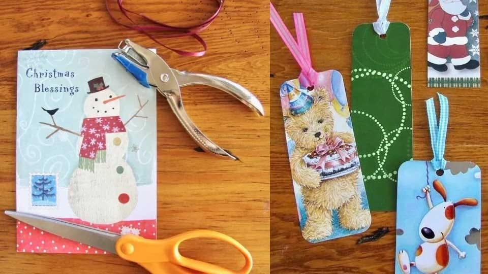 Examples of bookmarks made from Christmas cards.
